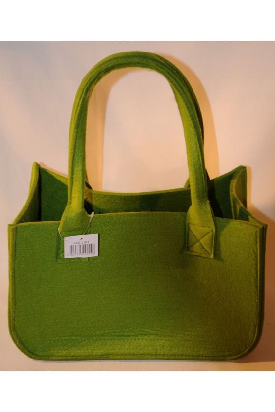 Tasche, Filztasche, Henkeltasche, grün, Vorderseite Hirsch, Rückseite uni