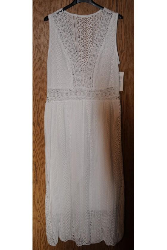 Kleid, lang, weiß uni,...