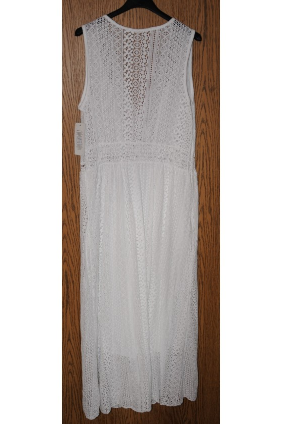 Kleid, lang, weiß uni, Spitze, ärmellos, One Size