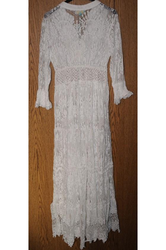 Kleid, lang, creme uni, Spitzen, One Size