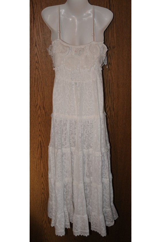 Kleid, Trägerkleid, lang, weiß uni, Spitzen, One Size
