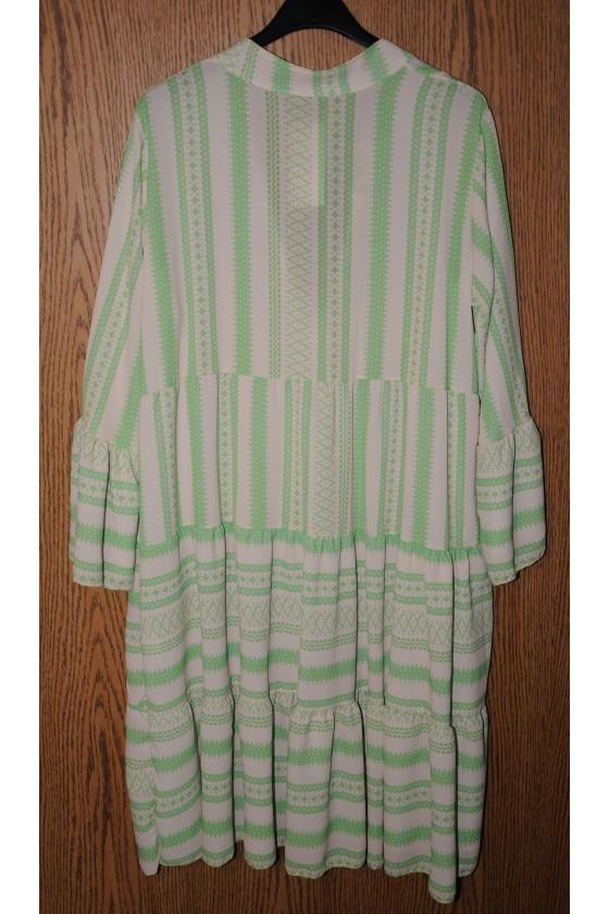 Kleid, Kurzkleid, creme/grün, Ethnomuster