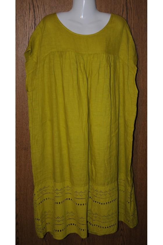 Kleid, Leinenkleid, lime...