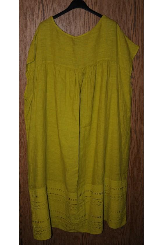Kleid, Leinenkleid, lime uni, Gr. 2X, bequemer Schnitt, ärmellos