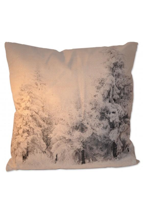Kissen, Winterlandschaft, Bäume, weiß/grau/silberglitzer