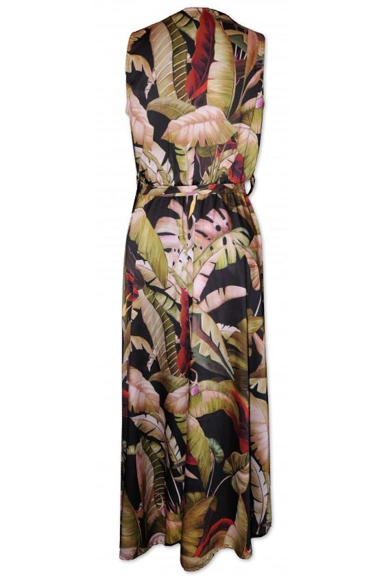 Kleid, lang, ärmellos, multicolor, Palmenmuster