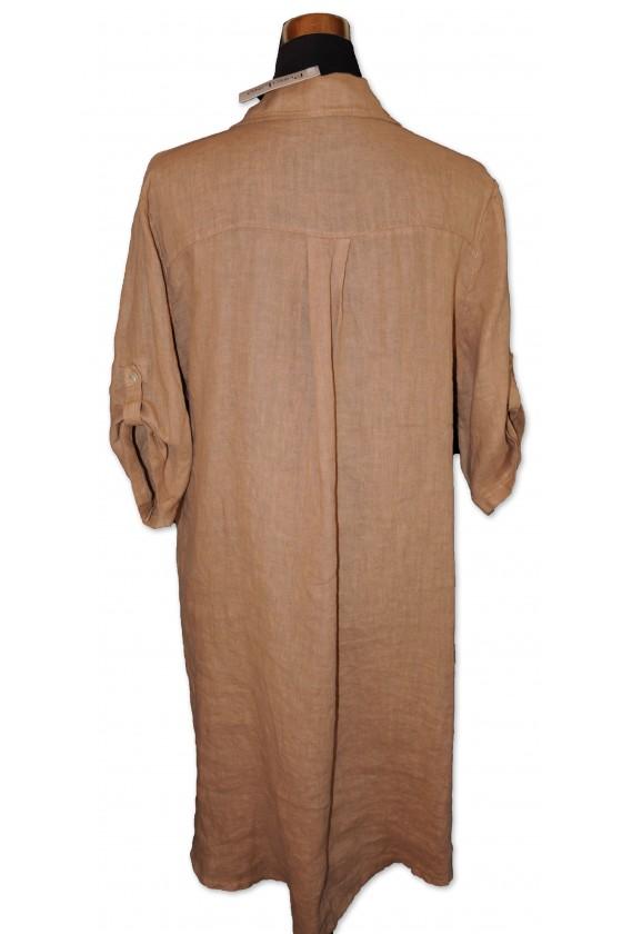 Kleid, Leinenkleid, halblang, One Size, camelfarbig