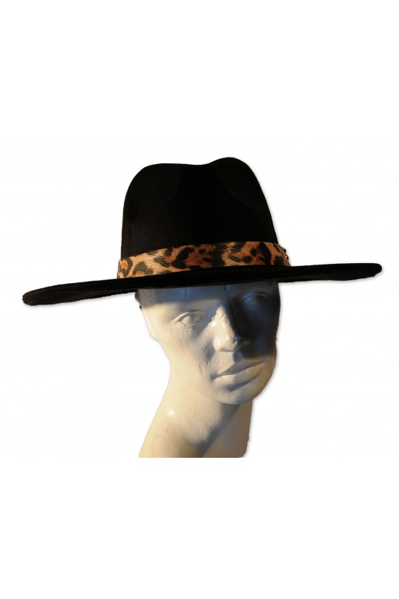 Hut, schwarz, klassisch, Hutband Leoprint, One Size
