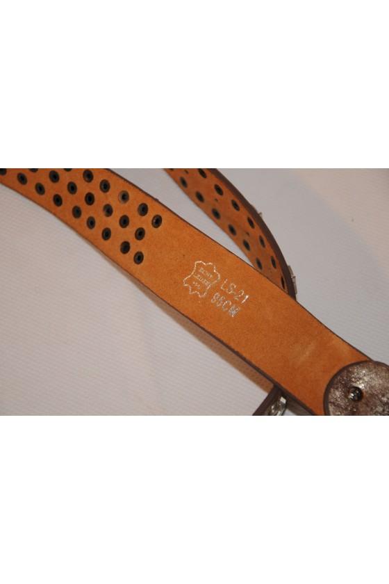 Gürtel gold/antik, echt Leder, Nieten/Sterne Metall, Breite 4 cm, Länge 95 cm