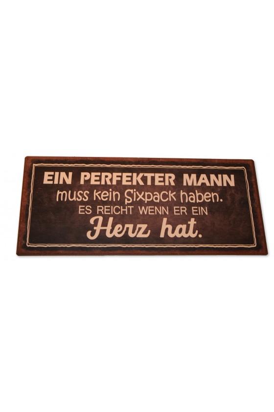 """Schild, Metall, """"Ein perfekter Mann..."""""""