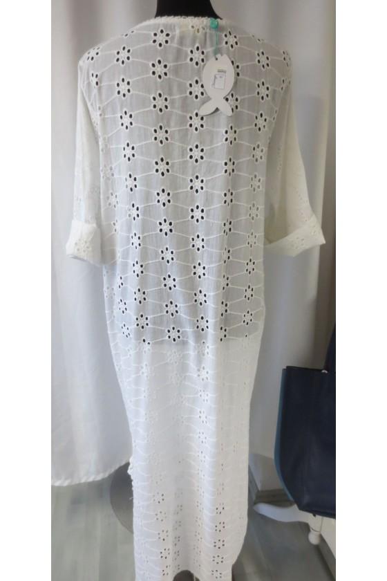 Tunika, Longbluse, perlenbestickt (L), weiß, uni