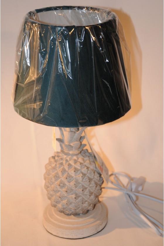 Stehlampe, Ananas, grau, Textilschirm petrol