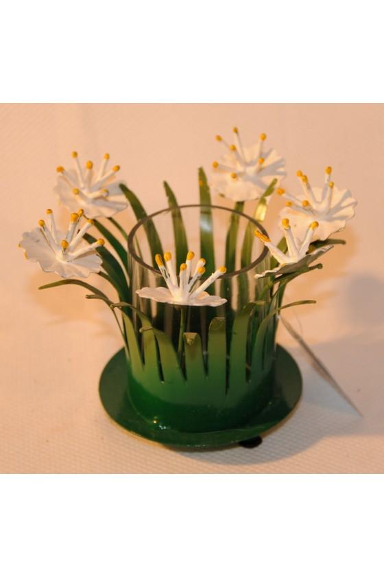 Windlicht, Metall lackiert, Glaseinsatz klar, Wiesenblume, grün/weiß multicolor