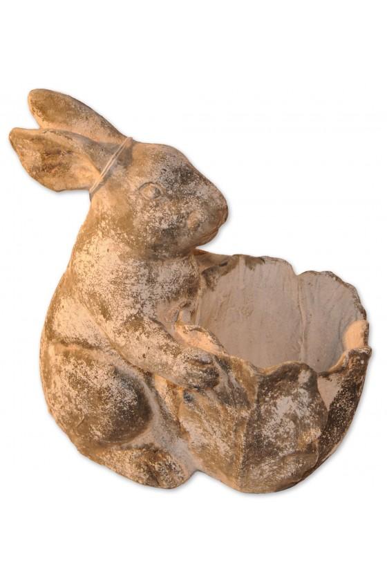 Hase, Hase mit Korb, grau antik, Shabby Chic, geeignet für Blumentopf oder Eier