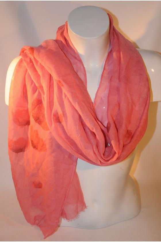 Schal, Halstuch, pink/Mohnblumen