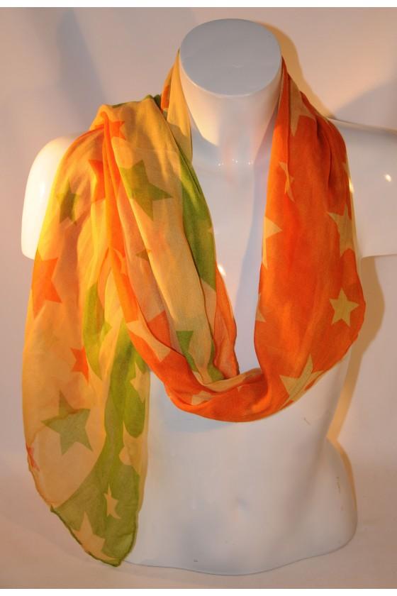 Schal, Halstuch, grün/orange, Sterne, 100% Viscose