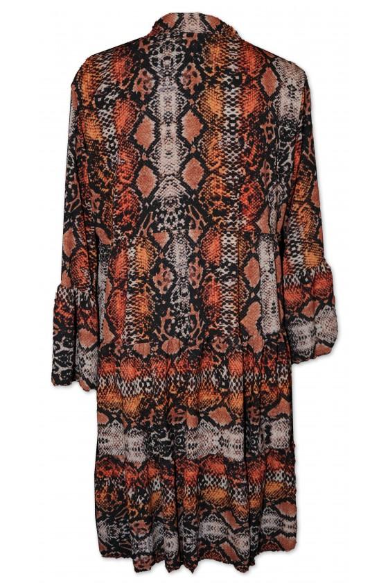 Kurzkleid, Longbluse, Schlangeprint, multicolor