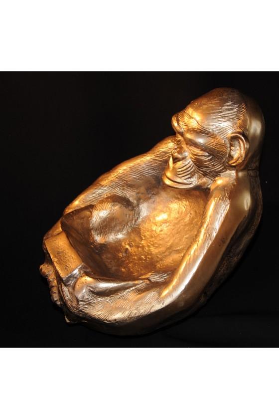 Affe, Schale, Ascher, Metall, gold antik