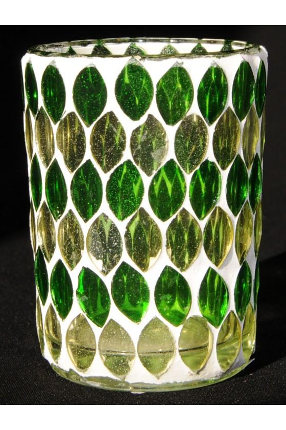 Windlicht, Mosaik, Glas, grün/weiß