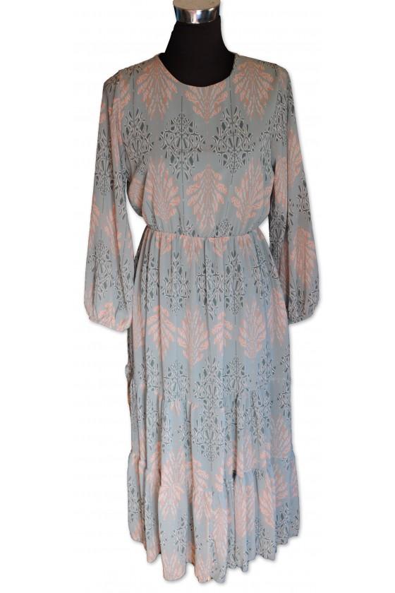 Kleid, hellblau gemustert,...