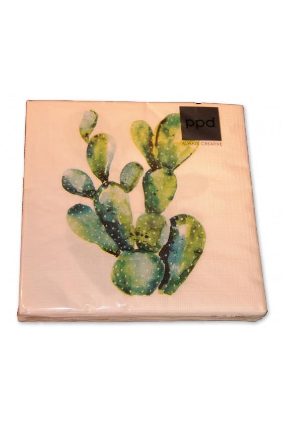 Servietten, Kaktus, weiß/grün
