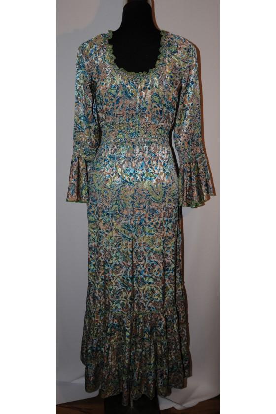 Kleid, lang, grün/petrol/camel gemustert, 100% Viscose, One Size