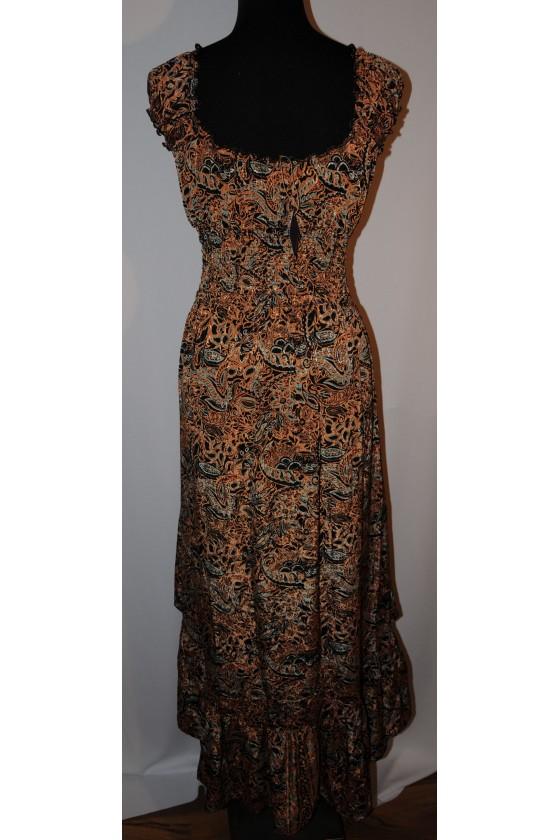 Kleid, lang, ohne Arm, Multicolor orange/braun gemustert