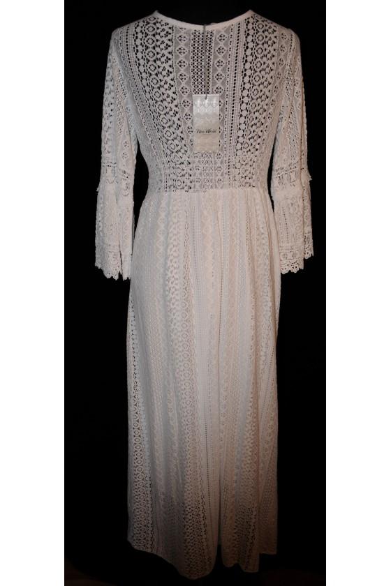 Kleid, lang, weiß uni, Spitzen, gefüttert, 100% Viscose, One Size