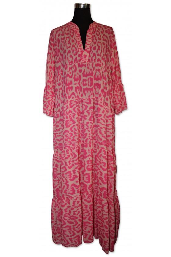 Kleid, lang, Animalprint,...