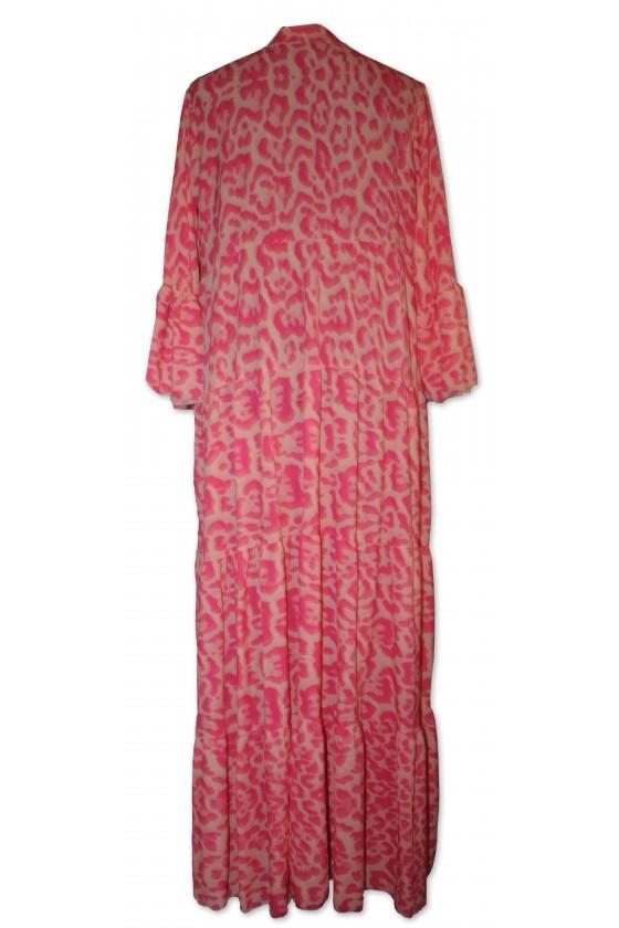 Kleid, lang, Animalprint, Farbe: pink/creme, One Size