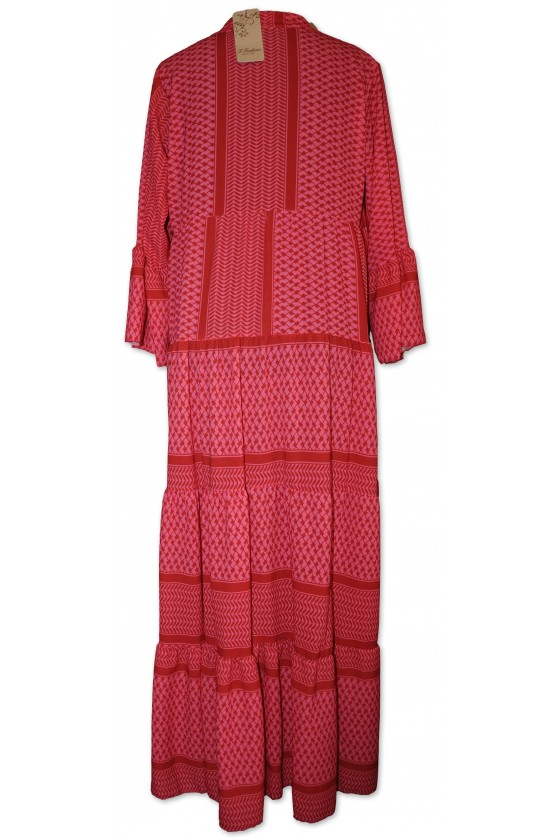 Kleid, lang, Farbe: pink/rot gemustert, One Size