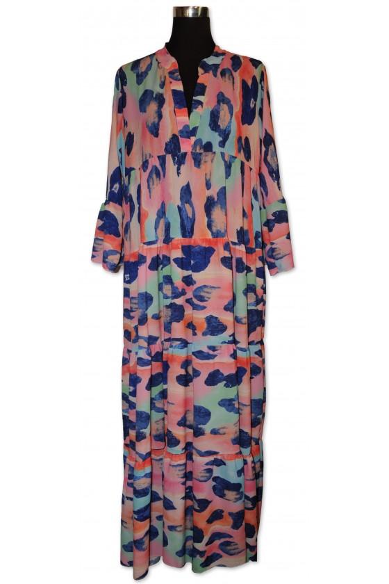 Kleid, lang, Farbe: rosa/blau/türkis gemustert, One Size