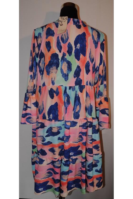 Kleid, kurz, Farbe: rosa/blau/türkis gemustert