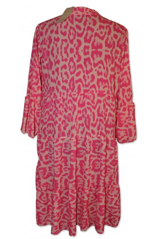 Kleid, kurz, Farbe: pink/creme Animalprint, One Size