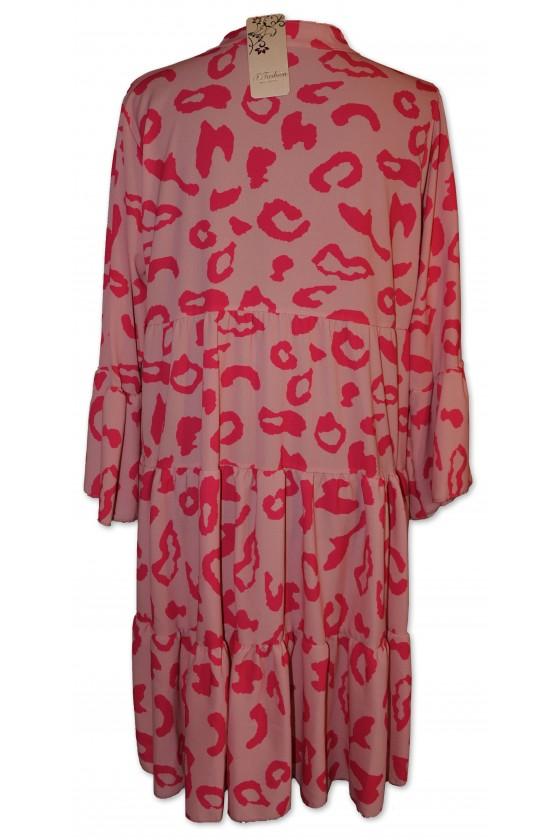 Kleid, kurz, Farbe: pink/rosa Animalprint, One Size