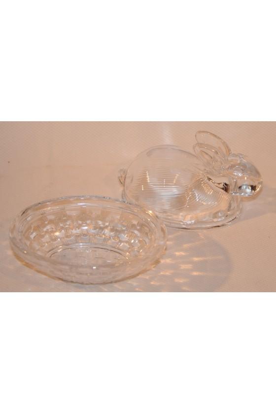 Butterhase, Schale mit Hasendeckel, Glas, klar