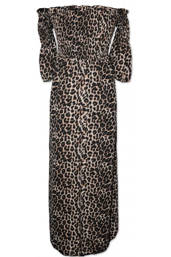 Kleid, lang, Leoprint, One Size, schmaler Schnitt