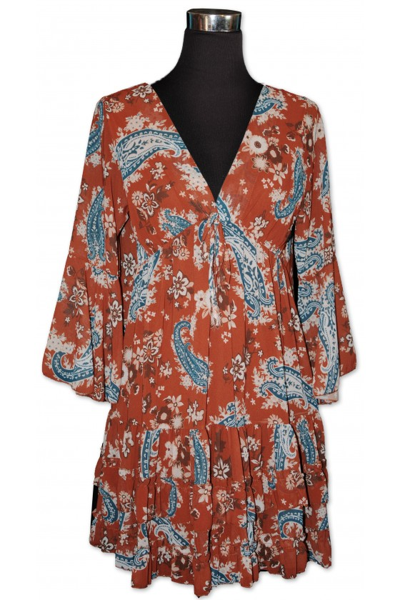 Longbluse, multicolor gemustert, Paisley, One Size