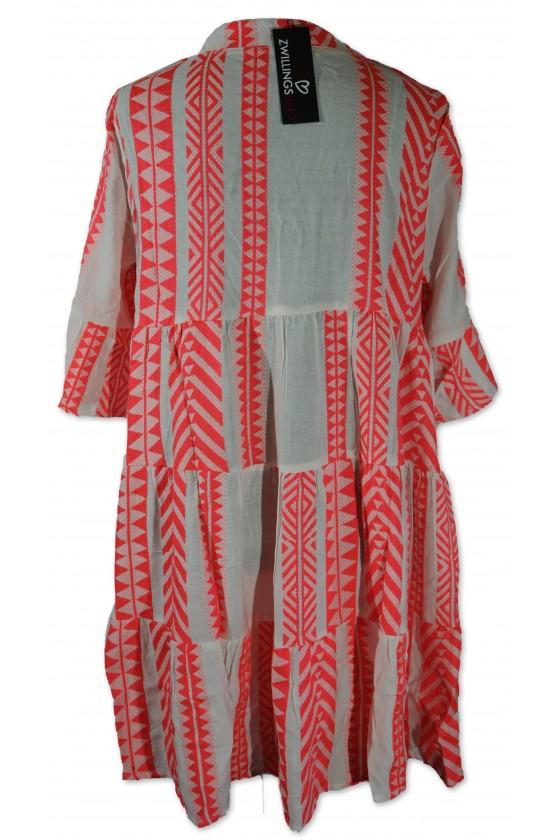 Kleid, Kurzkleid, Amalia, weiß/neonpink gemustert, One Size