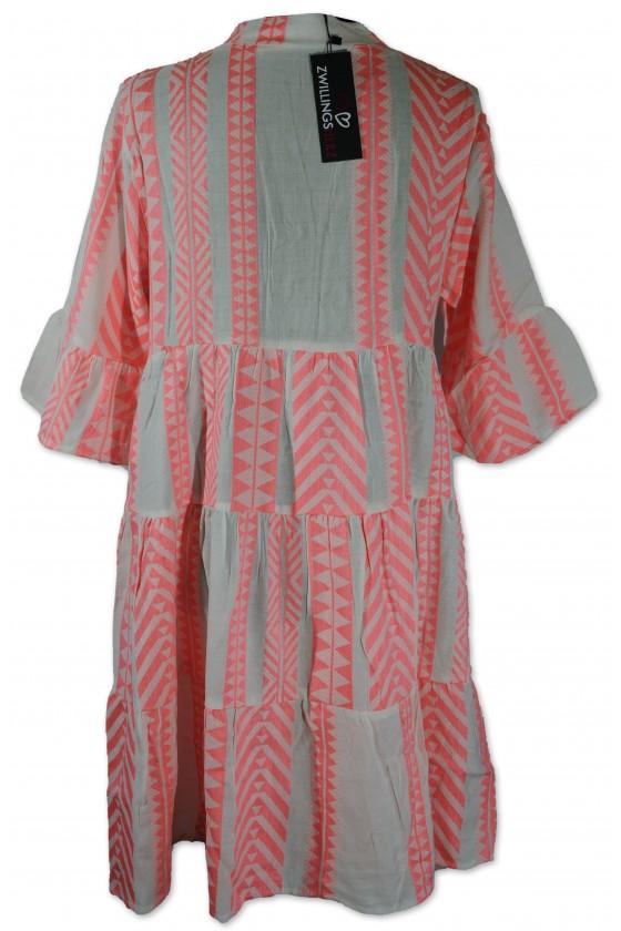 Kleid, Kurzkleid, Amalia, weiß/neonrosa gemustert, One Size