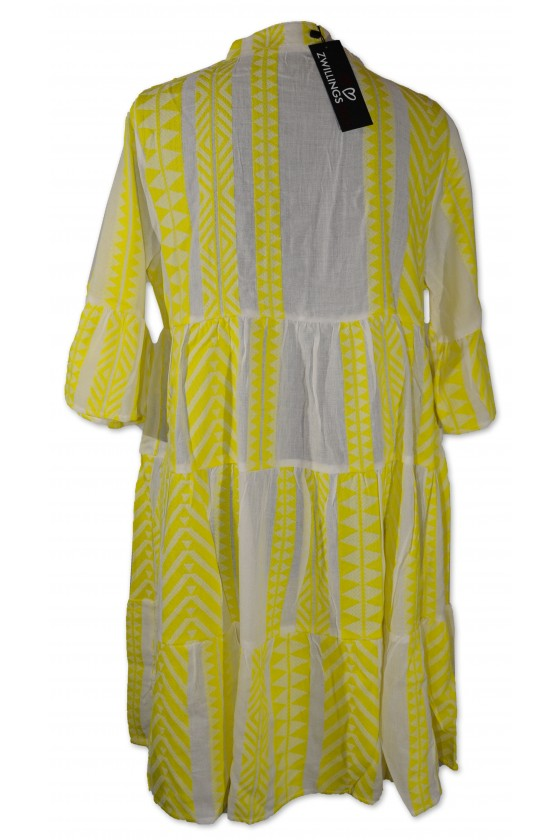 Kleid, Kurzkleid, Amalia, weiß/neongelb gemustert, One Size