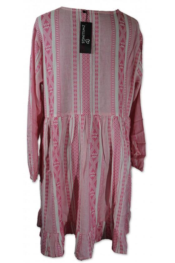 Kleid, Nala, weiß/pink gemustert, Gr. L/XL