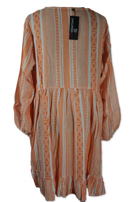 Kleid, Nala, weiß/lachs gemustert, Gr. L/XL