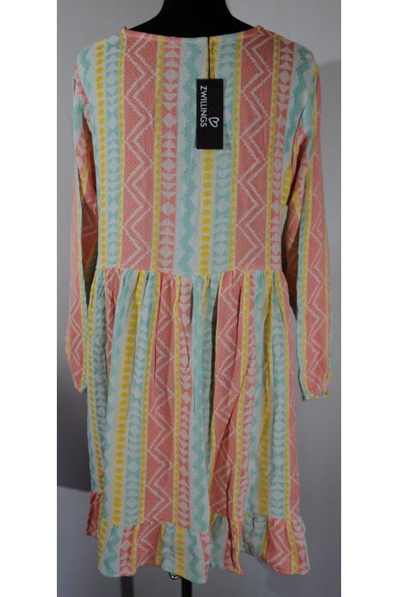 Kleid, pastellrosa/mint/gelb/creme gemustert, Gr. L/XL