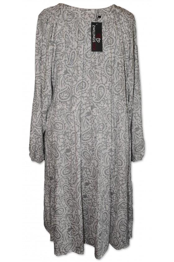 Kleid, weiß/grau gemustert, Kordel multicolor mit Quaste grau