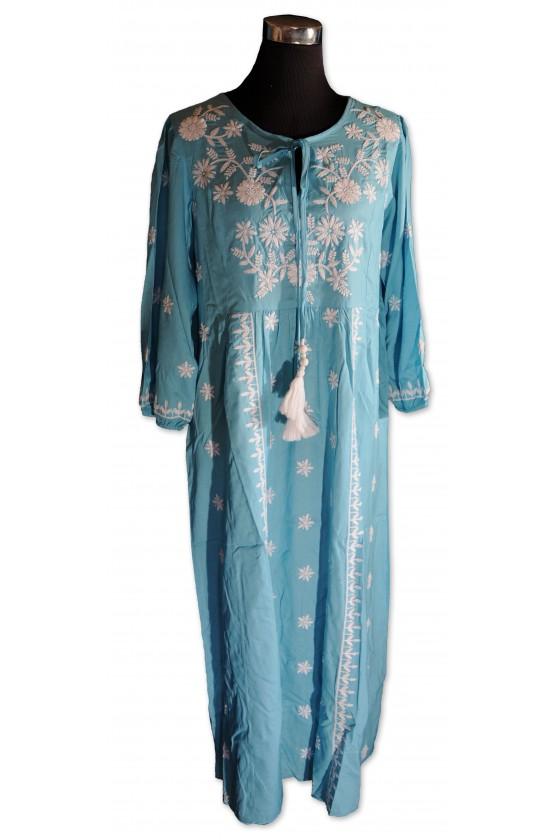 Kleid, lang, türkis, weiß...