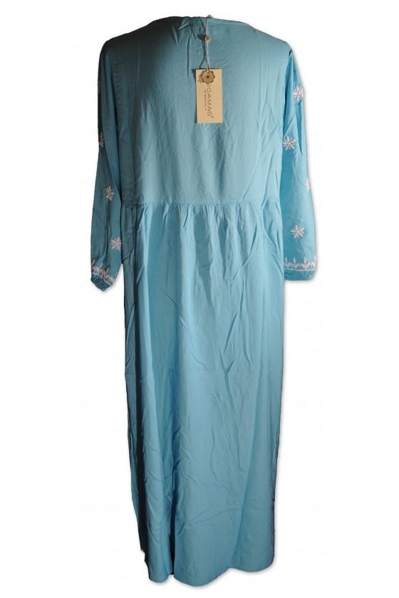 Kleid, lang, türkis, weiß bestickt