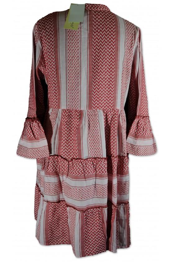 Kleid, kurz, rot/rosa Etnomuster