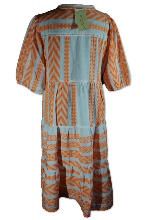 Kleid, halblang, weiß/orange Etnomuster