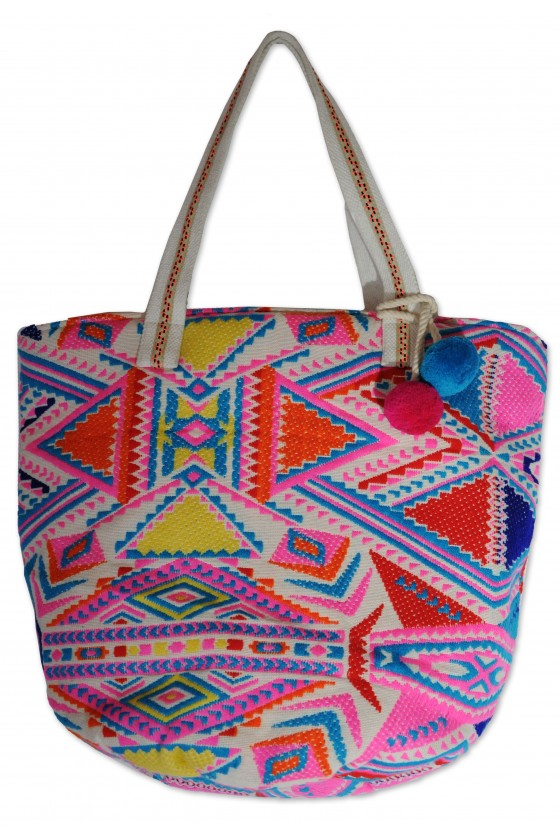 Tasche, Strandtasche, Badetasche, neon multicolor gemustert